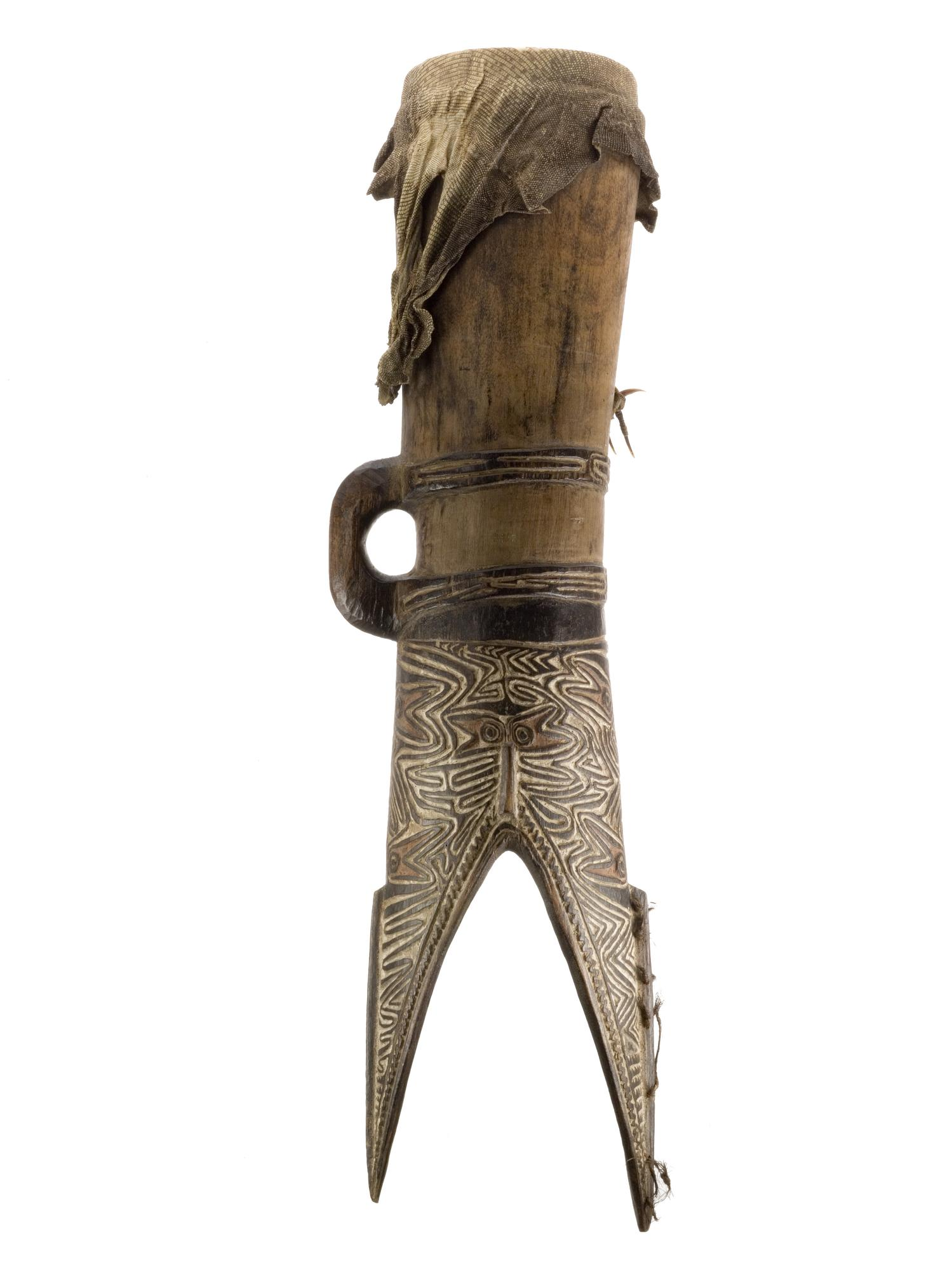 Drum carved from a tree trunk with lizard skin membrane: Melanesia, Papua New Guinea, Gulf Province, Vailala, Elema 19th century.