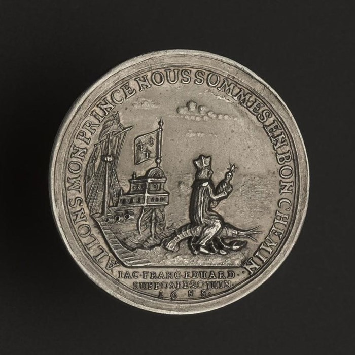 This medal depicts the flight of James VII and II's son, Prince James Francis Edward, in 1688.