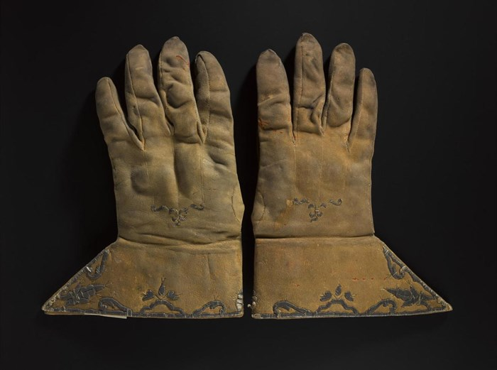 Pair of gloves said to have been worn by John Graham of Claverhouse, Viscount Dundee. Leather, silver wire, 17th century.
