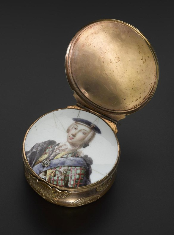 Enamel portrait of Bonnie Prince Charlie on a snuff box. The portrait was concealed beneath the lid of the box.