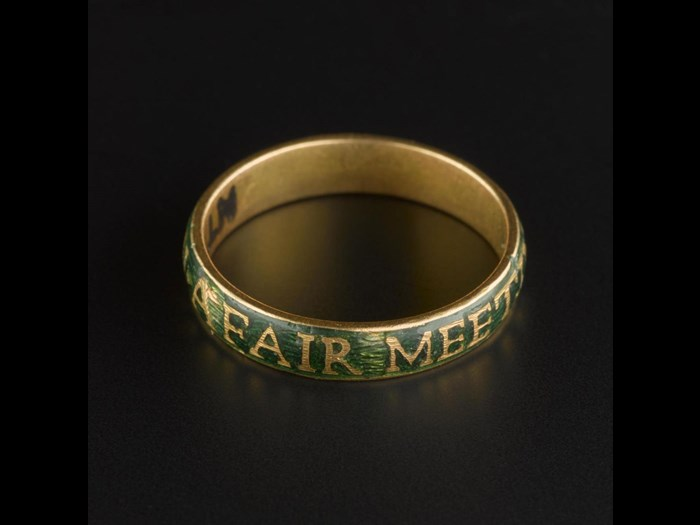 Gold ring of the Order of the Knights of Toboso, a Jacobite fraternity, inscribed with their motto, 'A Fair Meeting On The Green'.