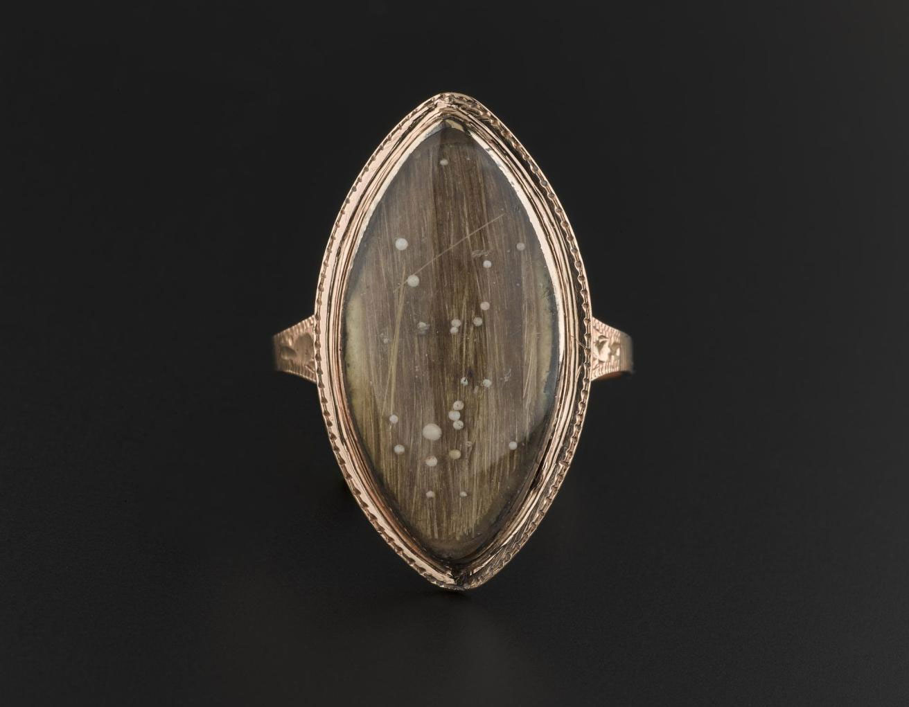 Containing a lock of Prince Charles' hair, this ring was thought to have been gifted by the Prince to Alexander Stuart of Invernayle. The ring also once also contained seed pearls forming the initials 'C.R'.