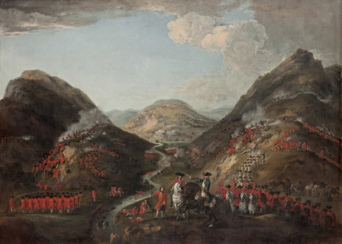 Peter Tillemans. The Battle of Glenshiel 1719. Figures probably include Lord George Murray, c 1700 - 1760; Rob Roy MacGregor, 1671 - 1734; and General Joseph Wightman, d. 1722. The National Galleries of Scotland