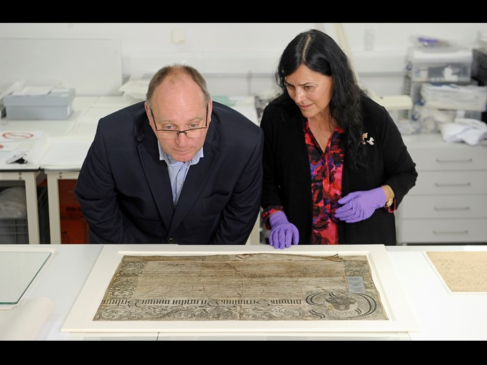 Diana  Gabaldon and David Forsyth examine a map from the Bonnie Prince Charlie and the Jacobites exhibition.