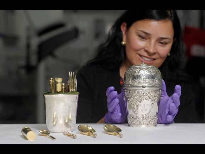 Diana Gabaldon with Bonnie Prince Charlie's travelling canteen, a replica of which will appear in the third series of Outlander.