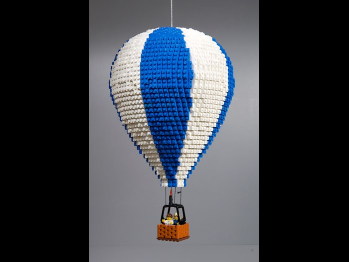 Hot air balloon made in LEGO® by artist Warren Elsmore