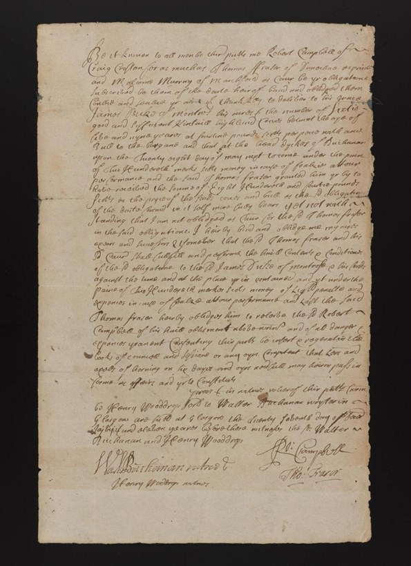 Obligation by Rob Roy to deliver to James, Duke of Montrose, 60 Highland cows and a bull at 'fourteen pounds Scotts per piece with ane bull to the bargane.'