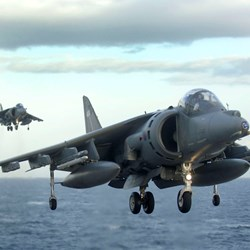 Two Harriers prepare to land onboard HMS Illustrious during Exercise Joint Warrior 2008. © Crown Copyright  http://www.defenceimagery.mod.uk/fotoweb/archives/5042-Downloadable%20Stock%20Images/Archive/Royal%20Navy/45149/45149692.jpg