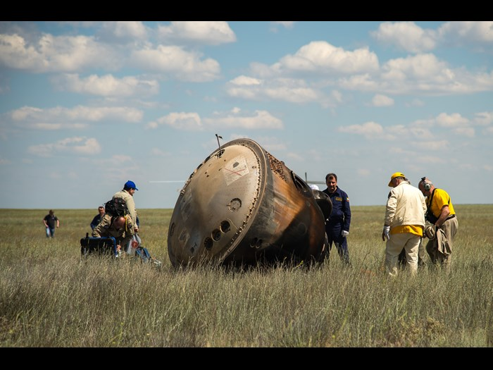 The Soyuz TMA-19M after landing © NASA Bill Ingalls