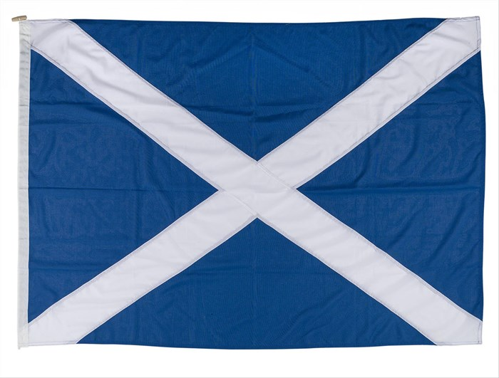 Scottish Saltire flag taken to the International Space Station from 9 to 22 December 2006. On display in the Earth in Space gallery at the National Museum of Scotland.