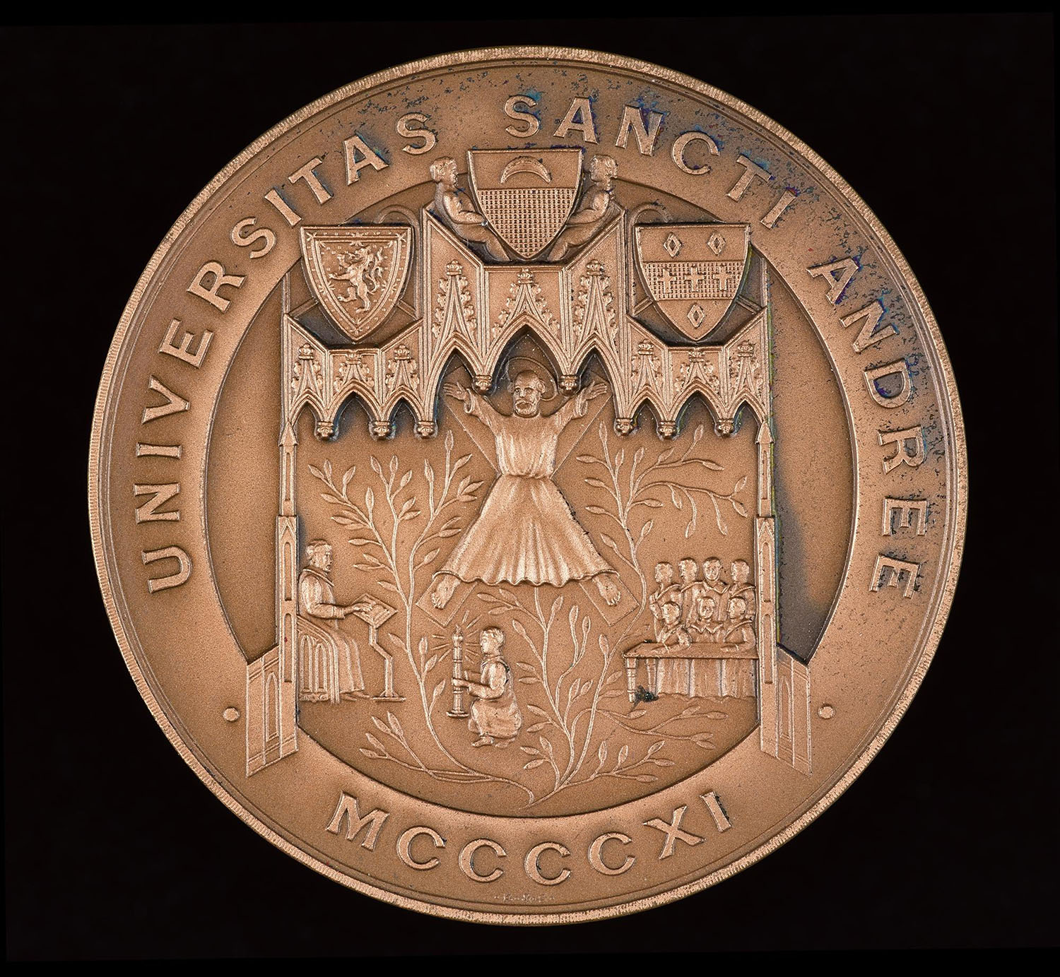 Senior Anatomy Medal, awarded to Sir James Whyte Black (1924 - 2010) by the University of St Andrews, 1943, depicting the saint on his cross.