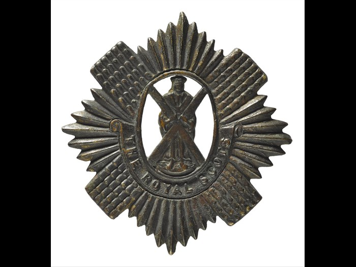 Glengarry badge of the Royal Scots, picked up at the scene of the Gretna Rail Disaster by John Baillie, brother of Private Andrew F. Baillie, Royal Scots, May 1915, World War I.