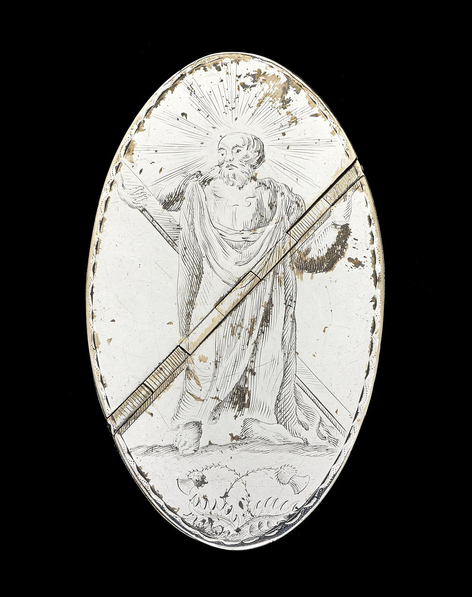 Pointed oval, silver snuffbox with straight sides and a double lid, engraved with the figure of St Andrew, possibly by Robert Bowman, Edinburgh, dated 1818. On display in the Art of Living gallery at the National Museum of Scotland.