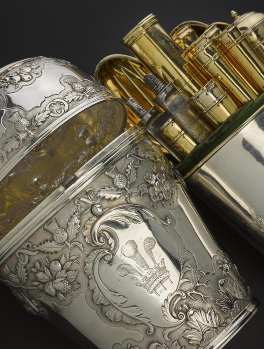 Silver travelling canteen with Prince of Wales feathers