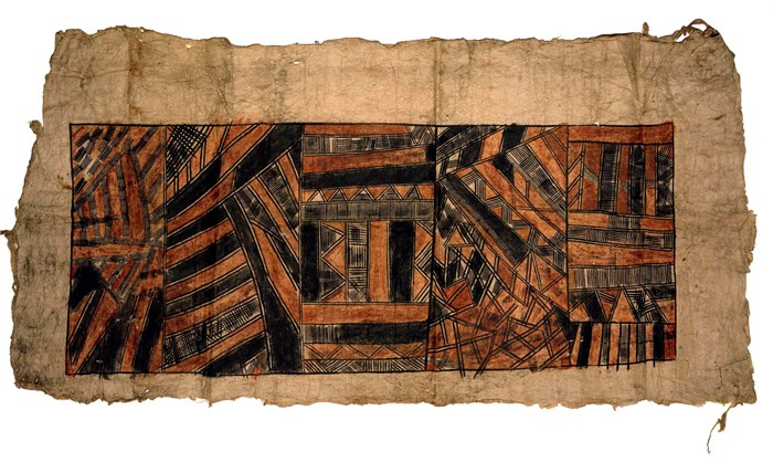 A.UC.442, barkcloth with a white ground, painted with linear red and black ornament in compartments, Tahiti, Society Islands, and old Walker label attached to it