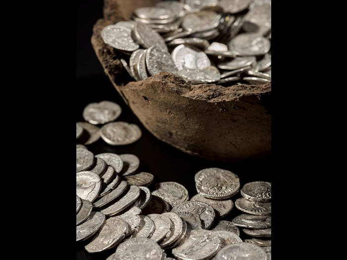 Roman coin hoard found at Birnie, Elgin, Moray.