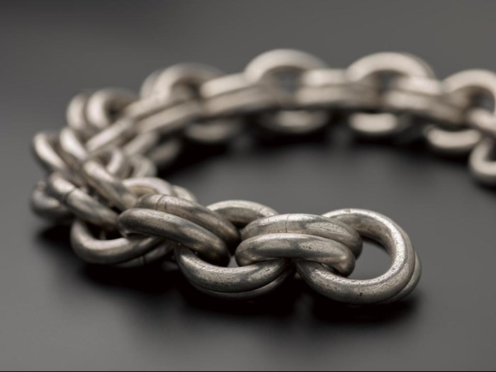 Silver chainwith a penannular clasp from Borland Farm, Walston, Lanarkshire.