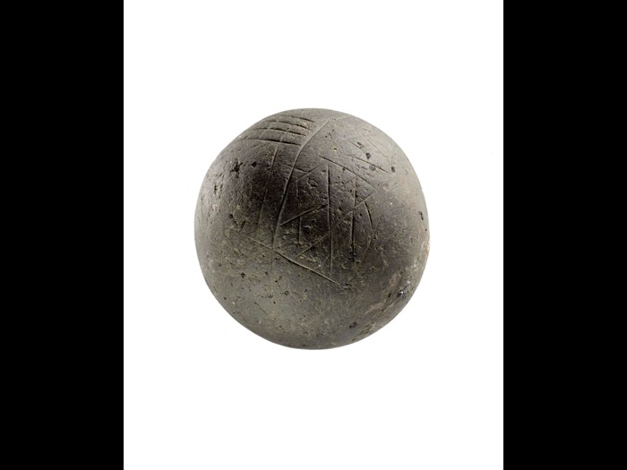 Carved stone ball from Skara Brae, 2900-2600 BC.