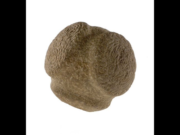 Carved stone ball, with four circular knobs, three of them decorated, from Lumphanan, Aberdeenshire, around 3000 BC.