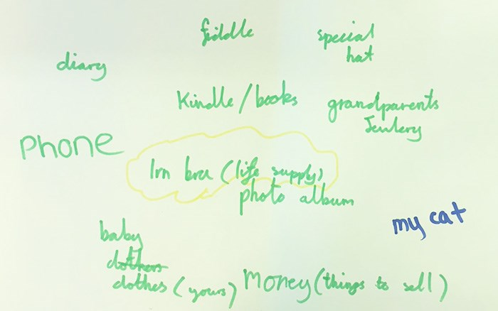 School pupils' ideas on objects they would take with them if emigrating from Scotland, October 2017