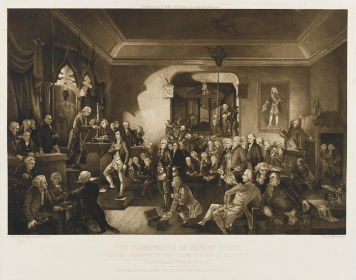Engraving, mounted on card, entitled 'The inauguration of Robert Burns as Poet Laureate of the Lodge Canongate Kilwinning Edinburgh 1787', by Charles Ewart from the painting by Stewart Watson.