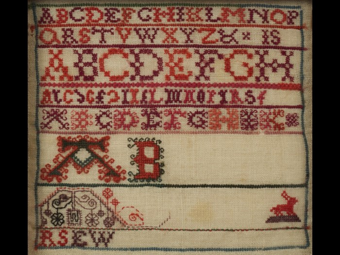 This alphabet sampler has been left unfinished. It is one of a collection of samplers created by the Swan and  Ballingal families © Leslie B. Durst Collection