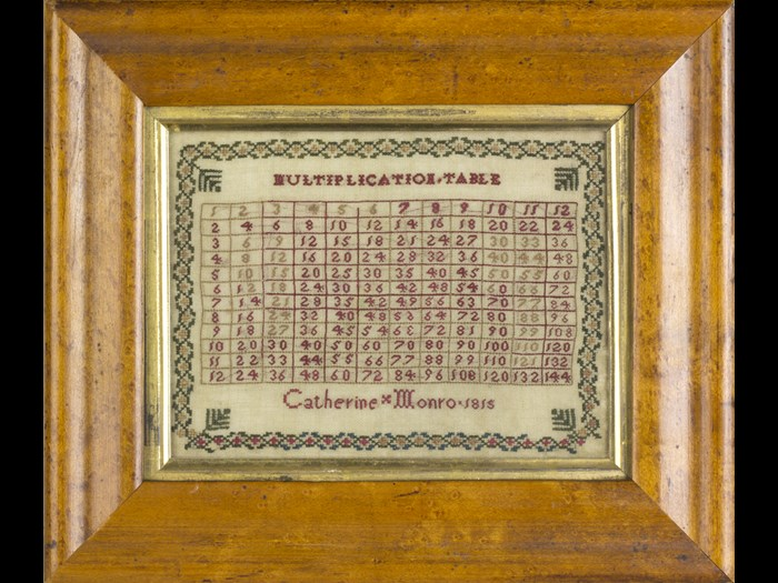 Catherine Monro's multiplication sampler reflects the type of schooling she received.  © Leslie B. Durst Collection