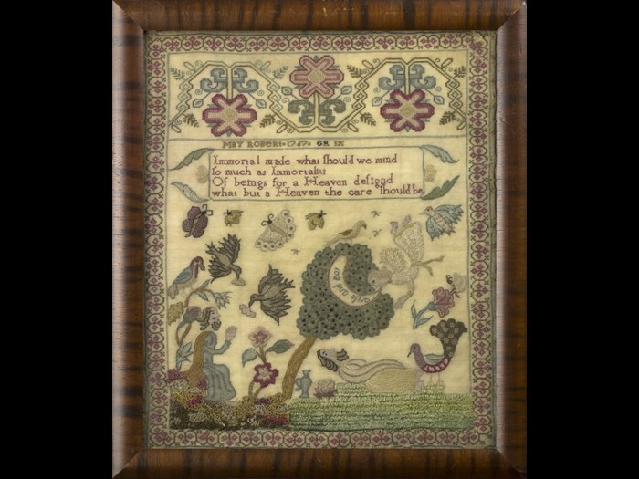 May Robert has incorporated biblical scenes from the story of Elijah into her sampler. © Private Collection of Leslie B. Durst