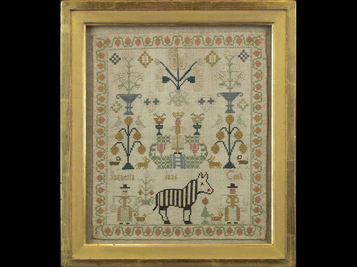 Isabella Cook's sampler is one of a pair both depicting a zebra. © Leslie B. Durst Collection