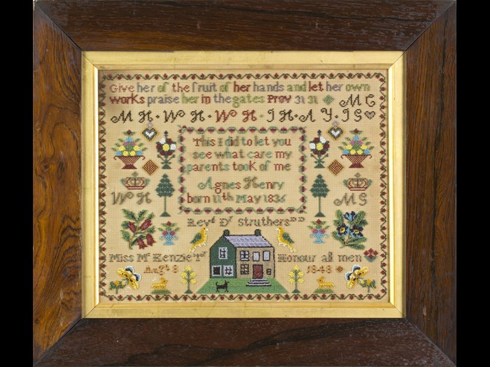 Agnes Henry's sampler is unusual  in that it is stitched on paper and made with coloured beads rather than conventional embroidery thread.  © Leslie B. Durst Collection