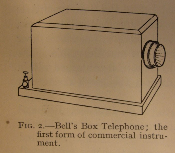 Illustration of Bell's box telephone with lid. Mounted to a wall or table, it had only one transmitter/receiver.