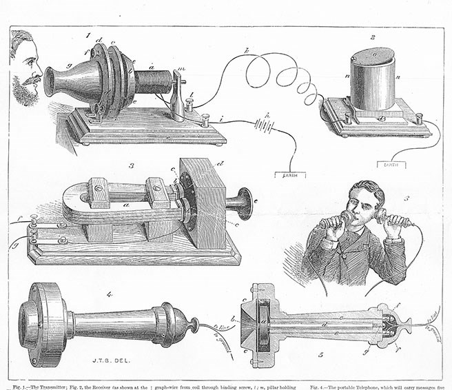 Illustration of the equipment demonstrated by Bell in London in December 1877. The Illustrated London News Dec 15 1877.