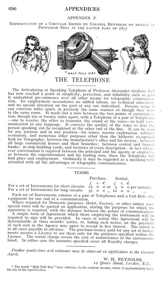 British advertisement for a set of telephone instruments, 1877.