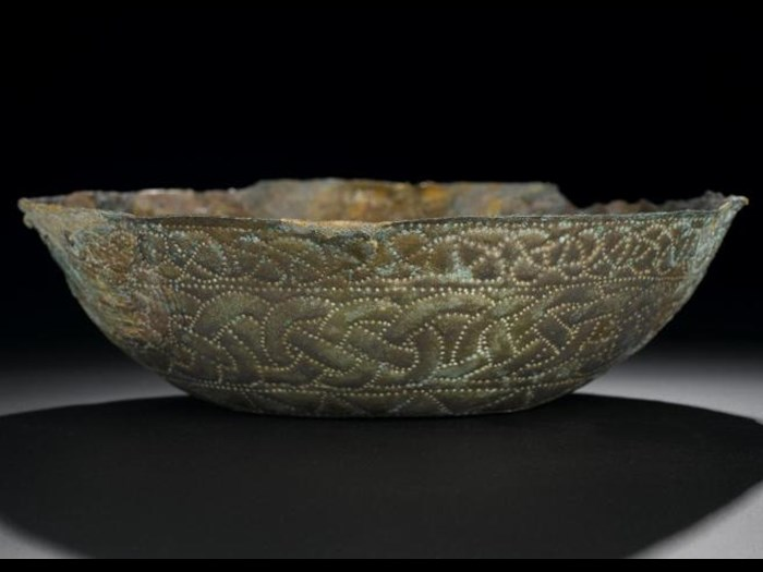 Pictish silver bowl with interlaced decoration, from St Ninian's Isle, Shetland, 8th century AD.