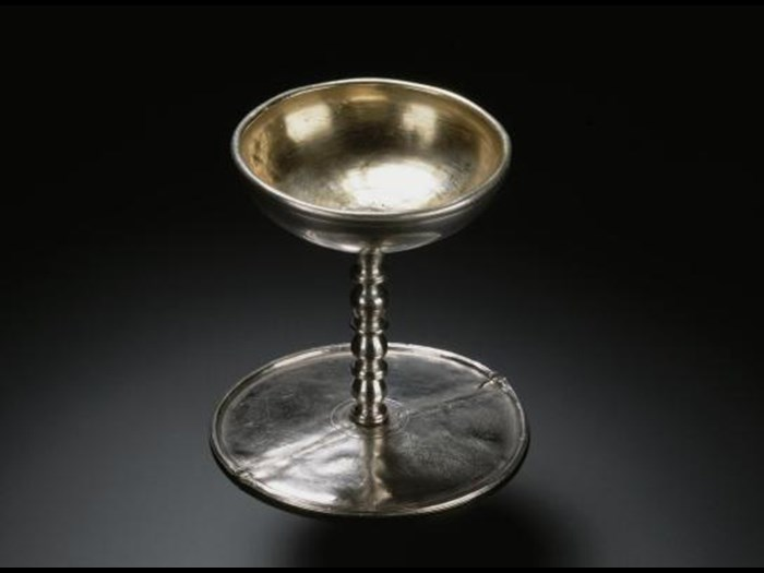 Roman silver serving vessel which could be inverted to serve as a platter, from the Traprain Law Treasure, East Lothian, buried 400-450 AD.