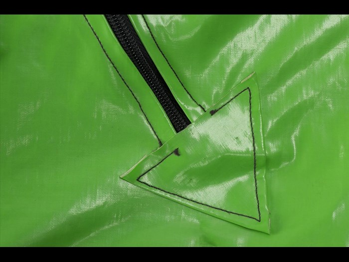 Detail of PVC jumpsuit owned by Eugene Reynolds of the Rezillos.
