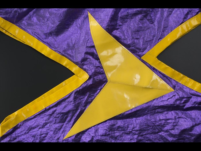 Detail of purple and yellow dress belonging to Fay Fife of the Rezillos.