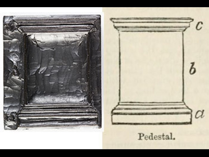 Pedestal, from First Edition, volume 7, page 349, 1860.