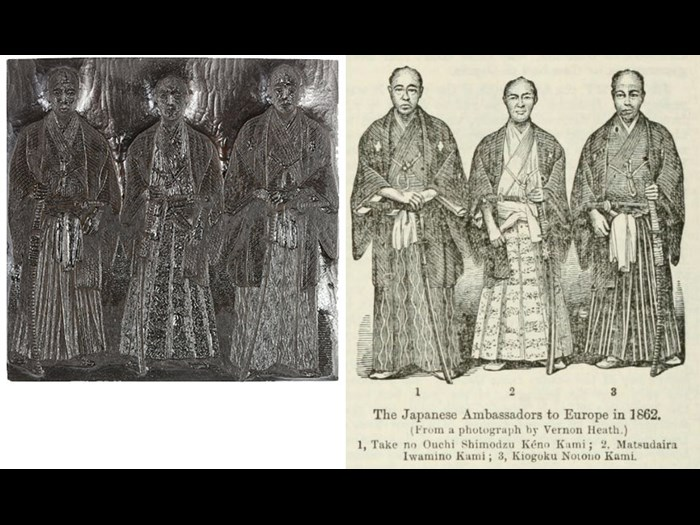 Japanese Ambassadors to Europe 1872 (From a photography by Vernon Heath), from First Edition, volume 5, page 684, 1863.
