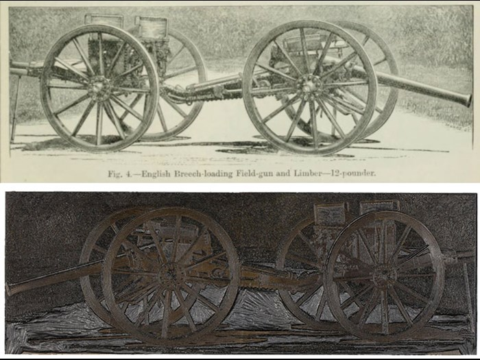 Fig. 4-English Breech-loading Field-gun and Limber-12-pounder, from Second Edition, volume 2, page 715, 1888.