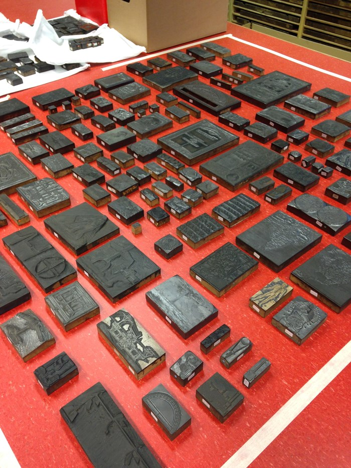 Woodblocks laid out in the National Museums Collection Centre.