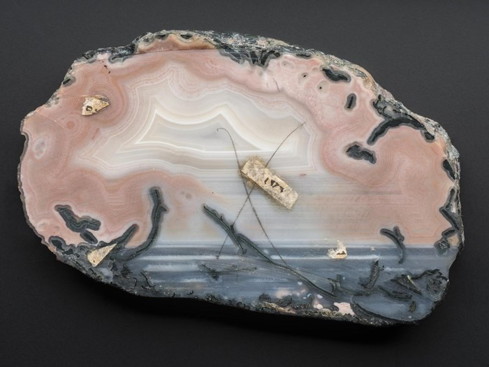 Quartz, variety agate - a slice - pink, pale pink, blue-grey banded and zoned with green celadonite forced in - from Blue Hole, Usan, Montrose, Angus