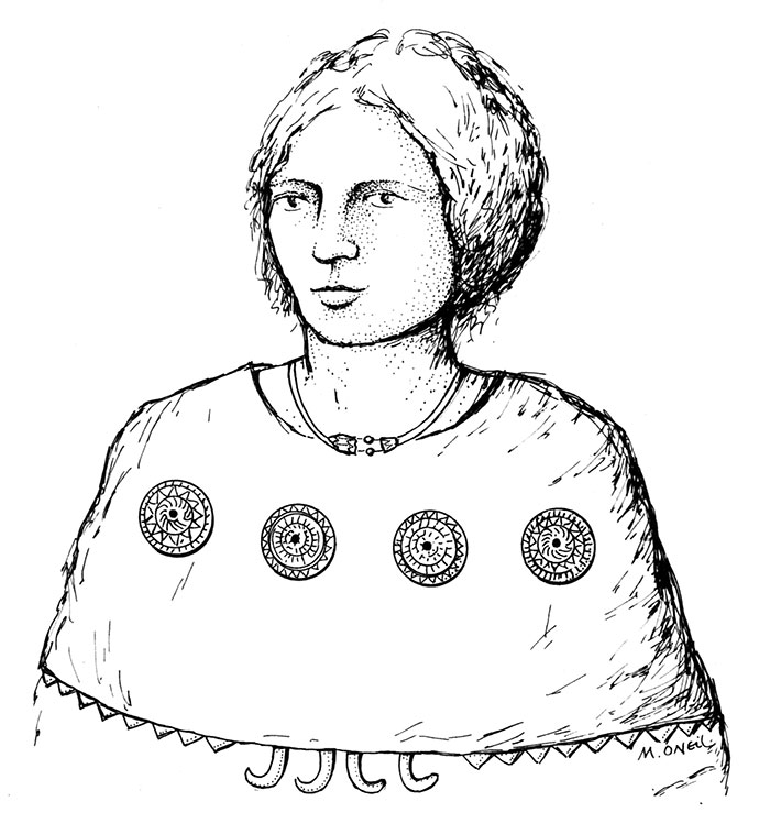 Artist's reconstruction showing how the Knowes of Trotty gold discs and amber ornaments may have been worn. Drawing by Marion O'Neil