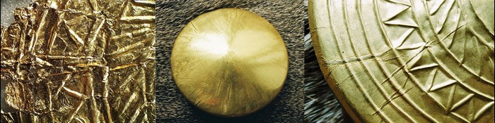 Left: detail of one of the discs. Centre: replica disc on wooden core, prior to decoration and cutting out of the central hole. Right: detail of one of the replica discs; note the creasing. Photos: NMS, Wojciech Kochman