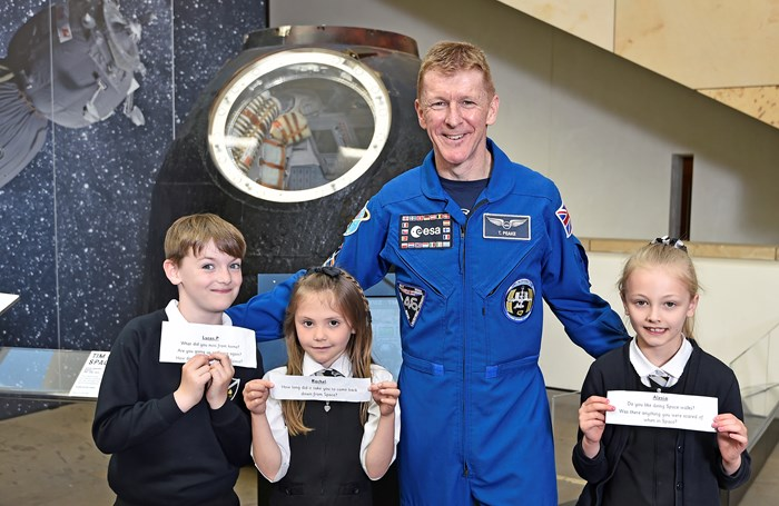 European Space Agency Astronaut, Tim Peake at the unveiling of his Soyuz spacecraft display at the National Museum of Scotland.