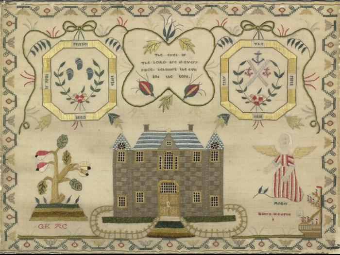 Maern Kedglie, from Inveresk, represented the neighbouring town of Musselburgh in her sampler, using the town's coat of arms of three anchors and three mussels. © Leslie B. Durst Collection