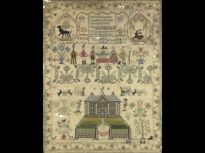 Margaret Alexander's sampler, made during the Napoleonic Wars, includes portraits of three British army regiments. © Leslie B. Durst Collection