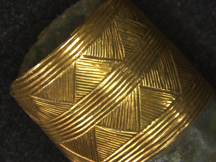 Detail of the gold binding on the Carnoustie spearhead
