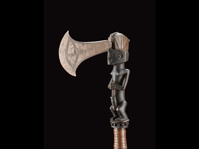 Ceremonial axe with copper blade, wooden shaft carved in the form of a woman pounding grain and grip bound in copper ribbon: Central Africa, Democratic Republic of the Congo, Katanga, late 19th century