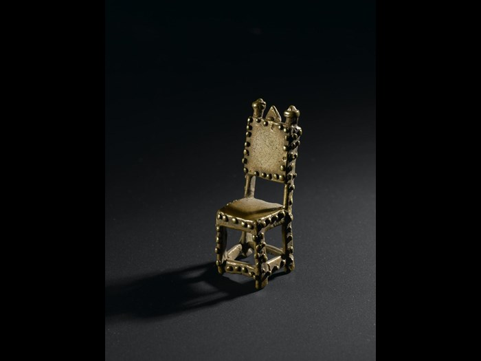 Cast brass goldweight representing a chief's asipim chair: West Africa, Ghana, Asante, late 19th century